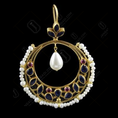 onyx And Pearl Hanging Chandbali Earring