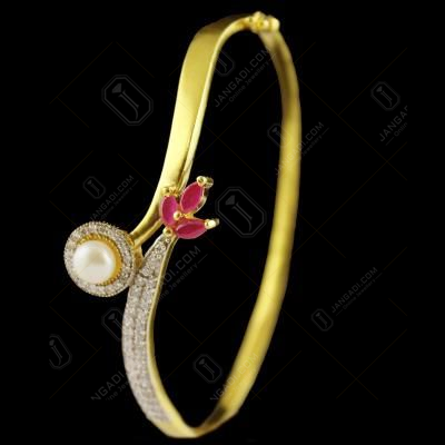 Gold Plated Pearl With Zircon lock Bangle