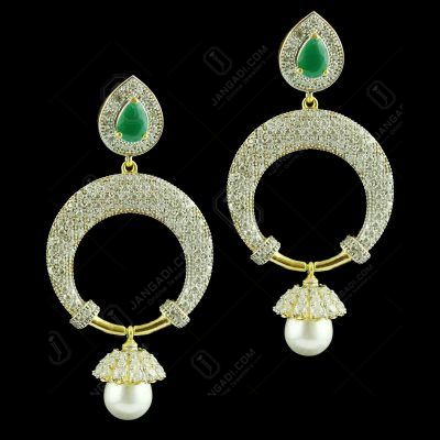 Gold Plated Chandbali Earrings Studded Pearl And Zircon Stones
