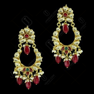 Gold Plated Fancy Earring Drops Ruby And Pearls