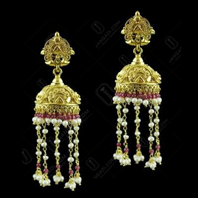 Gold Plated Jhumka Pearl And Red Beads