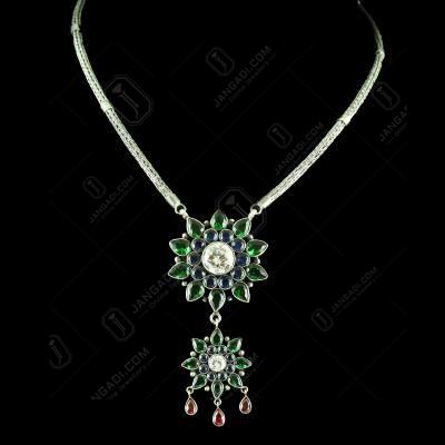 Silver Corundum Stone Pendant With Chain