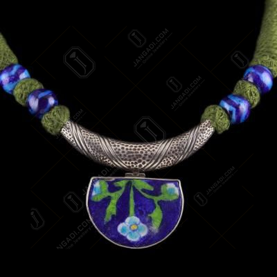 Blue Pottery Thread Necklace