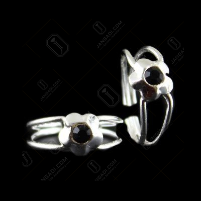 Two Layer Toe Ring Black Stone