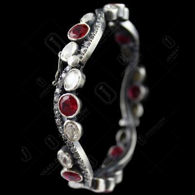 Oxidized Bangle Locket  Red Corundum And Zircon