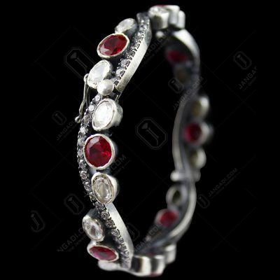 Oxidized Bangle Locket  Red Corundum And Zircon