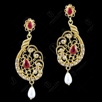 GOLD PLATED DROPS EARRINGS WITH ZIRCON CORUNDUM PEARL STONES