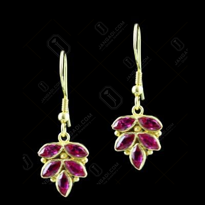 Gold Plated Corundum stone Floral Hanging Earring