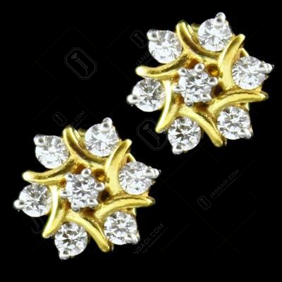 GOLD PLATED 7 STONE ZIRCON TOPS EARRINGS
