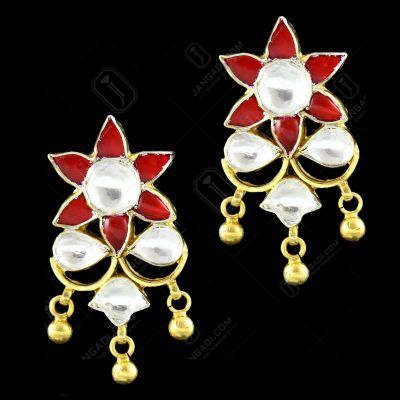 GOLD PLATED KUNDAN DROPS EARRING
