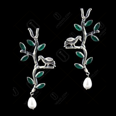 Green Leaf Pearl Drop With Zircon Stone Earring