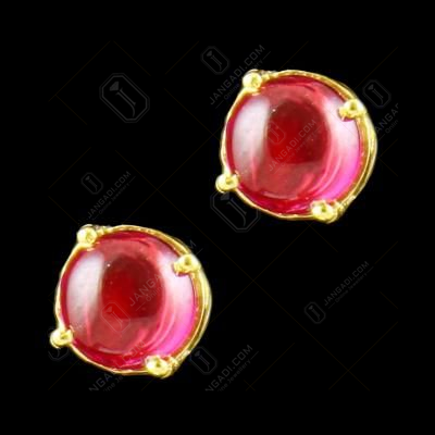 Gold Plated Corundum Stone Traditional Earring