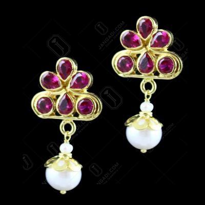 Gold Plated Corundum Stone Pearl Drops Earring