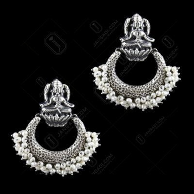 Oxidized Silver Lakshmi Chadbali With Pearl Design Earring
