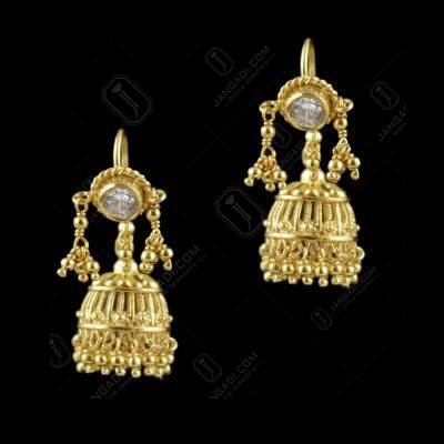 Gold Plated Hanging Jhumka Earrings With Stones