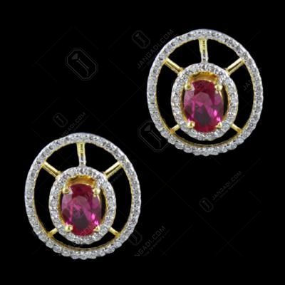 Gold Plated Corundum And Zircon Stone Casual Earrings