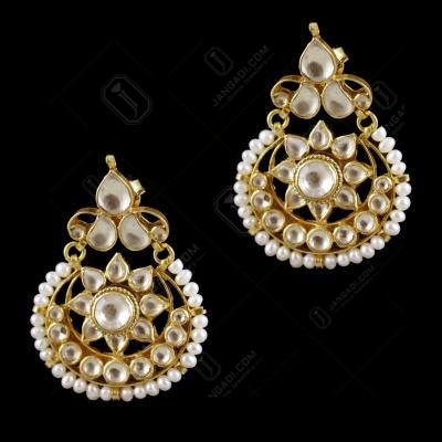 Gold Plated Pearl And Kundhan Stone Chandbali Party Wear Earring