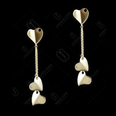 E5648 Sterling Silver Gold Plated Heart Shape Earrings
