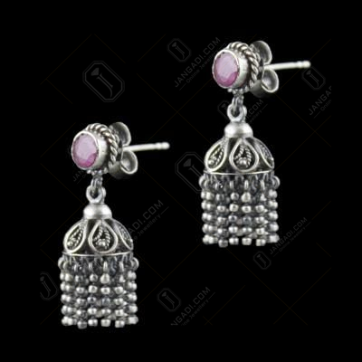 Oxidized Silver Jhumka Earrings With Red Corundum Stones