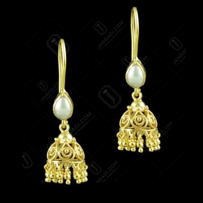 Gold Plated Hanging Jhumkas With Pearl Beads