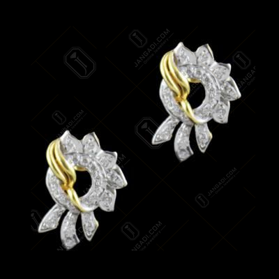 Gold Plated CZ Stones Floral Party Wear Earrings