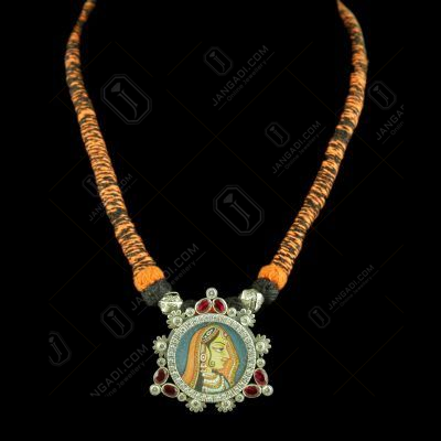 Oxidized Silver Hand Painting Thread Necklace With CZ And Red Corundum Stones