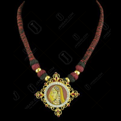 Gold Plated Hand Painting Thread Necklace With CZ Red Corundum Stones