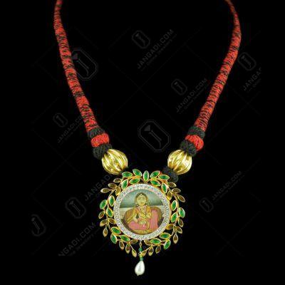 Gold Plated Hand Painting Thread Necklace With CZ Green Hydro Stones And Pearl Drops
