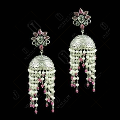Oxidized Silver Jhumkas With Red Corundum And Pearl Beads