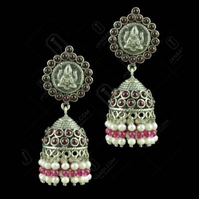 Oxidized Silver Lakshmi Coin Jhumkas With Red Onyx Stones Corundum And Pearl Beads