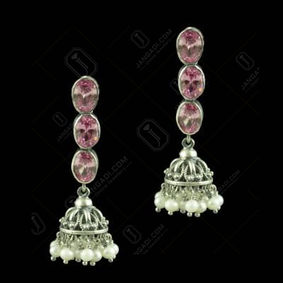 Oxidized Silver Red Corundum Stones And Pearl Beads Jhumkas