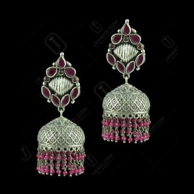 OXIDIZED SILVER JHUMKAS STUDDED RED CORUNDUM STONES AND BEADS