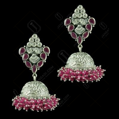 OXIDIZED SILVER JHUMKAS STUDDED CZ AND RED CORUNDUM STONES AND BEADS