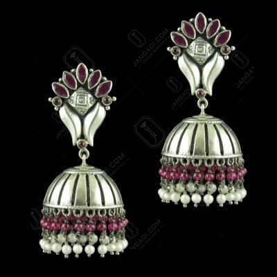 OXIDIZED SILVER JHUMKAS STUDDED RED CORUNDUM STONES AND PEARL BEADS