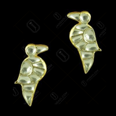 GOLD PLATED PARROT DESIGN KUNDAN STONES EARRINGS