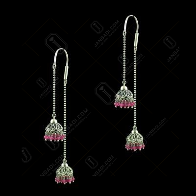 OXIDIZED HANGING JHUMKAS WITH SEMIPRECIOUS STONES