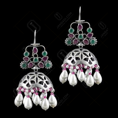 OXIDIZED JHUMKAS STUDDED GREEN HYDRO RED CORUNDUM AND PEARL BEADS