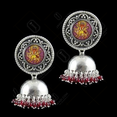 OXIDIZED SILVER HAND PAINTING JHUMKA WITH SEMI PRECIOUS STONES