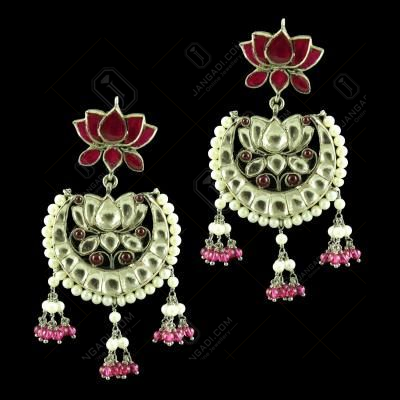 OXIDIZED LOTUS DESIGN KUNDAN STONE CHANDBALI EARRINGS