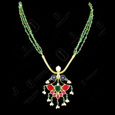 GOLD PLATED KUNDAN STONE PEACOCK NECLACE