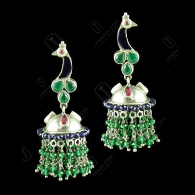 OXIDIZED MEENA PEACOCK JHUMKA WITH GREEN HYDRO RED CORUNDUM AND BLUE SAPPIER