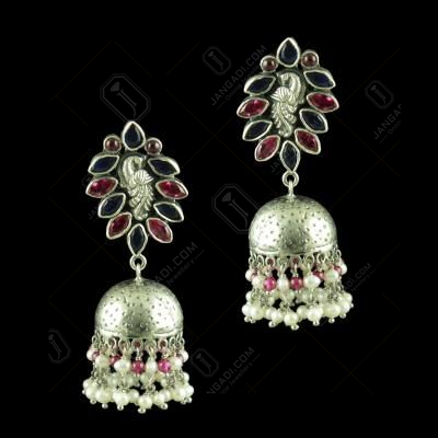 OXIDIZED PEACOCK JHUMKA EARRINGS WITH RUBY BLUE SAPPIER AND PEARLS