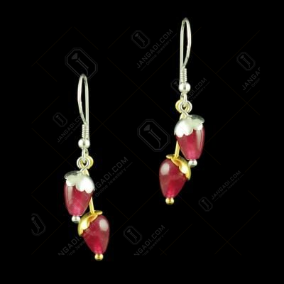 TWO COLOR HANGING EARRINGS WITH RED CORUNDUM