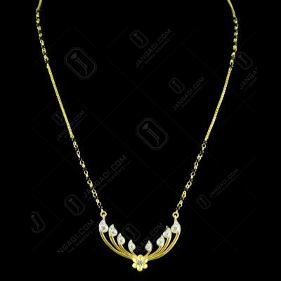 GOLD PLATED CZ MANGALSUTRA WITH BLACK BEADS