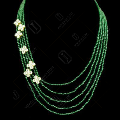 GOLD PLATED KUNDAN AND GREEN HYDRO BEADS NECKLACE
