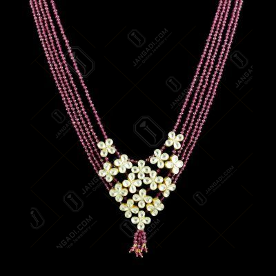 GOLD PLATED KUNDAN AND RUBY BEADS NECKLACE