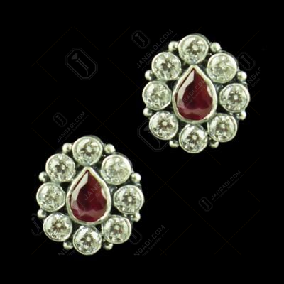OXIDIZED SILVER EARRINGS WITH CZ AND RED CORUNDUM STONES