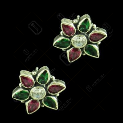 RED CORUNDUM GREEN HYDRO AND CZ STONE EARRINGS