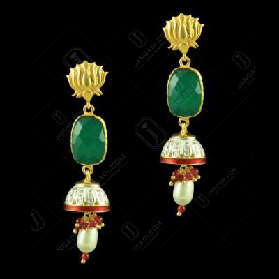 GOLD PLATED CZ EARRINGS WITH EMERALD AND PEARLS