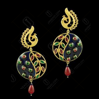 Gold Plated Flower Leaf design Earrings studded Semi Precious Stones